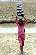 A Pakistani girl from Sindh province heads home with pots of drinking water. © Fawad Hussein